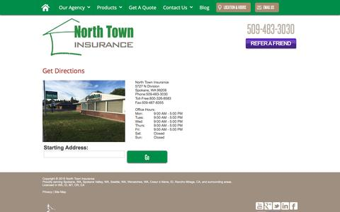 Screenshot of Maps & Directions Page northtowninsurance.com - Directions - captured Dec. 11, 2016