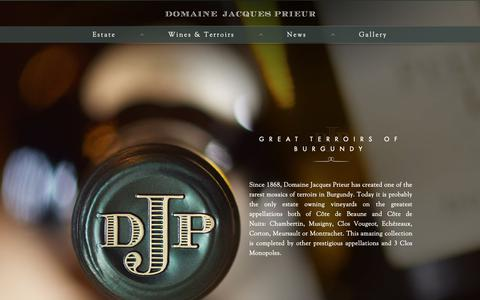 Screenshot of Home Page prieur.com - The Great Terroirs of Burgundy - Jacques Prieur - captured Oct. 9, 2018