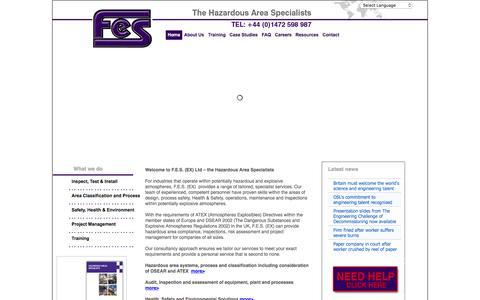 Screenshot of Home Page fes-ex.com - FES: Hazardous Area Specialists  - Home - captured Feb. 4, 2016