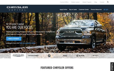 Screenshot of Home Page chryslercapital.com - Chrysler Capital | Auto Finance - captured Oct. 22, 2015