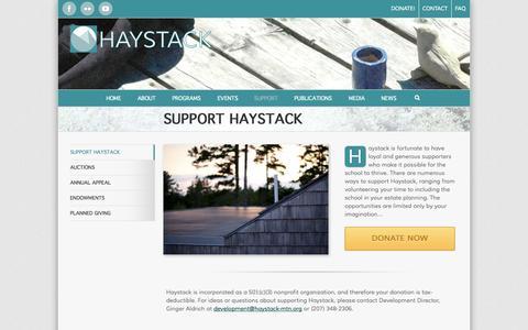 Screenshot of Support Page haystack-mtn.org - Haystack Mountain School of Crafts   –  Support Haystack - captured Nov. 1, 2014