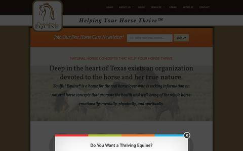Screenshot of Home Page soulfulequine.com - Natural Horse Care - Helping Your Horse Thrive | Soulful Equine® - captured Oct. 7, 2014