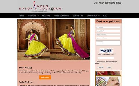 Screenshot of Services Page indusboutique.com - Indus Boutique, Fairfax | Indian Boutique | Virginia - captured Jan. 8, 2016