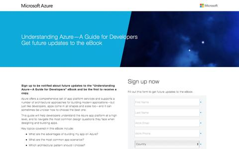 Screenshot of Landing Page microsoft.com - Understanding Azure – A Guide for Developers - captured April 13, 2016