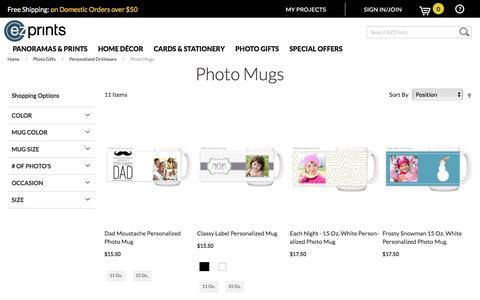 Screenshot of ezprints.com - Photo Mugs Customized   Personalized Coffee Mugs   Create your own cups online   ezprints - captured Feb. 26, 2017