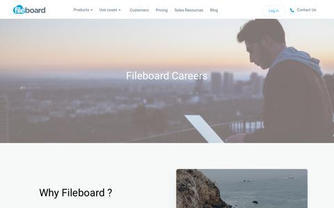 Screenshot of Jobs Page fileboard.com - Fileboard Careers - Why Join A Dynamic, Fast Growing Company? - Fileboard - captured July 12, 2018