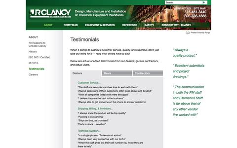 Screenshot of Testimonials Page jrclancy.com - About J.R. Clancy - What Our Dealers Say About Us - captured Oct. 4, 2014