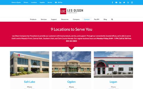Screenshot of Locations Page lesolson.com - Local Business Technology, 8 Locations - Les Olson Company - captured Sept. 28, 2018