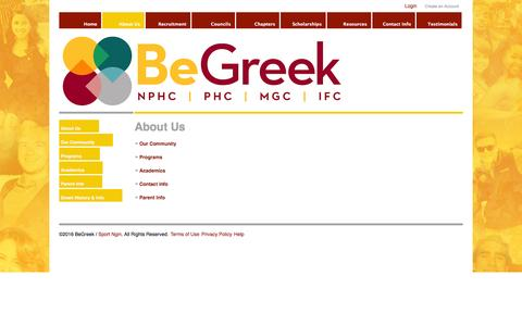 Screenshot of About Page begreek.org - About Us - captured June 9, 2016
