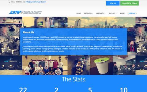 Screenshot of About Page jumpforward.com - About JF - JumpForward - captured Sept. 19, 2014