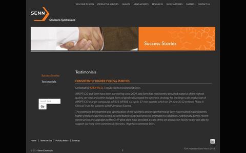 Screenshot of Testimonials Page sennchem.com - Testimonials | Senn Chemicals - captured Oct. 4, 2014