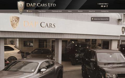 Screenshot of Home Page dapcars.co.uk - DAP Cars Ltd, Range Rover Revere, Porsche, Techart, bespoke and custom cars and 4x4 in Nether Alderley, Cheshire - captured Oct. 5, 2014