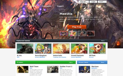 Screenshot of Home Page aeriagames.com - Free Online Games - Play the Best MMO, PC, Browser, and Mobile Games - captured July 17, 2014