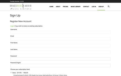 Screenshot of Signup Page grassrootsaudio.com - Sign Up - GrassRoots Audio - captured Dec. 13, 2018