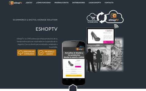 Screenshot of Home Page eshoptv.es - eShopTV - eCommerce - Digital Signage solution - captured Jan. 28, 2015