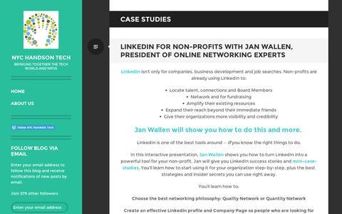 Screenshot of Case Studies Page wordpress.com - case studies | NYC HandsOn Tech - captured Sept. 12, 2014