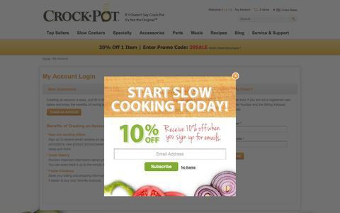 Screenshot of Login Page crock-pot.com - My Account - Crock-Pot® - captured Feb. 29, 2016