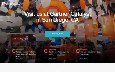 Screenshot of Landing Page purestorage.com - Pure Storage at Gartner Catalyst - captured April 16, 2016