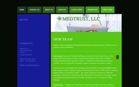 Screenshot of Team Page medtrust.us - Our Team | MedTrust, LLC - captured Oct. 27, 2014