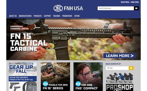 Screenshot of Home Page fnhusa.com - FNH USA - Distinct Advantage :: Home - captured Oct. 1, 2015