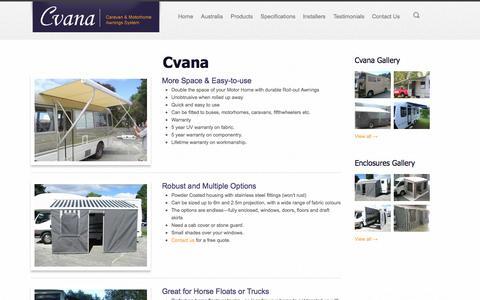 Screenshot of Products Page cvana.co.nz - Cvana Products - Cvana : Caravans & Motorhome Awnings - captured Oct. 3, 2014