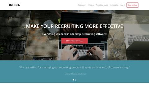 Screenshot of Home Page inhiro.com - InHiro - simple recruiting tool - captured Jan. 8, 2016