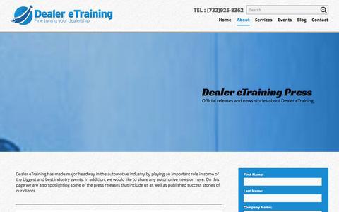 Screenshot of Press Page dealeretraining.com - Press - Dealer eTraining - captured Oct. 29, 2014