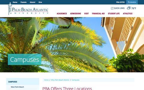 Screenshot of Locations Page pba.edu - Campuses | Palm Beach Atlantic University - captured Jan. 17, 2016