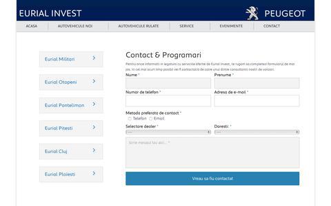 Screenshot of Contact Page eurial.ro - Contact & Programari   Eurial Invest - captured Oct. 17, 2016