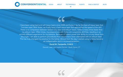 Screenshot of Testimonials Page convergentdental.com - Testimonials | Convergent Dental - captured Sept. 13, 2014