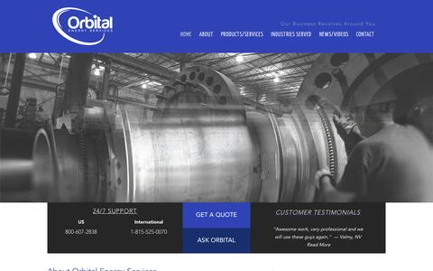 Screenshot of Home Page orbitalenergyservices.com - Orbital Energy Services  Our Future Revolves Around You - captured Jan. 26, 2015
