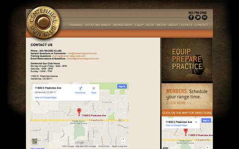 Screenshot of Contact Page centennialgunclub.com - Centennial Gun Club | Shooting Range Denver Colorado | Gun Store Denver Colorado - captured Sept. 29, 2014