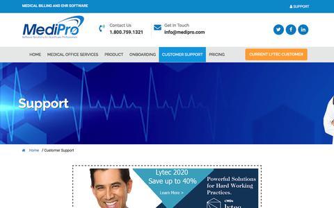 Screenshot of Support Page medipro.com - MediPro - Lytec EMR, CureMD Medical Practice Software - captured Nov. 6, 2019