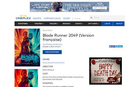 Cineplex.com | Blade Runner 2049 (Version française)