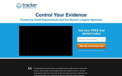 Screenshot of Trial Page trackerproducts.com - Free Evidence Management Software Trial - captured Oct. 9, 2014