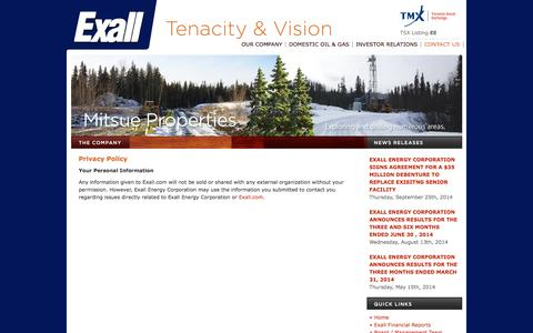 Screenshot of Privacy Page exall.com - Privacy Policy | Exall Energy Corporation - captured Oct. 3, 2014