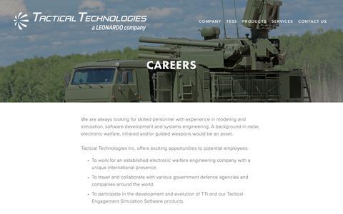 Screenshot of Jobs Page tti-ecm.com - Careers — Tactical Technologies Inc. - captured Oct. 18, 2018