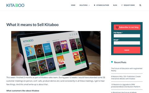 Screenshot of About Page kitaboo.com - What it means to Sell Kitaboo - What customers like about Kitaboo ? - captured Dec. 1, 2017