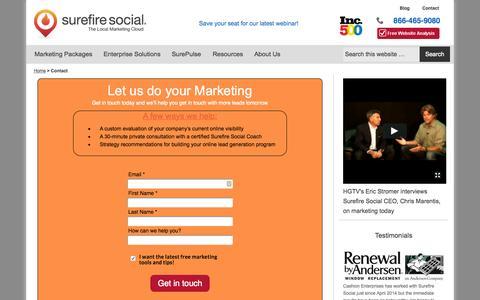 Screenshot of Contact Page surefiresocial.com - We do your Marketing - Surefire Social - captured Oct. 2, 2015