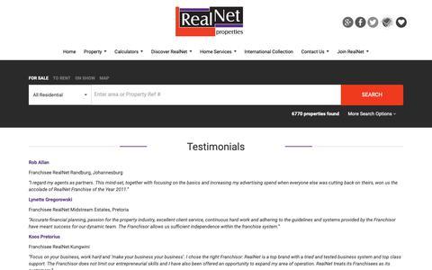 Screenshot of Testimonials Page realnet.co.za - Testimonials - captured Oct. 18, 2018