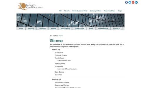 Screenshot of Site Map Page industryqualifications.org.uk - Industry Qualifications - captured June 7, 2017