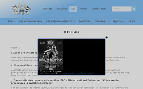 Screenshot of FAQ Page ifbb.com - IFBB FAQ - captured Dec. 8, 2018