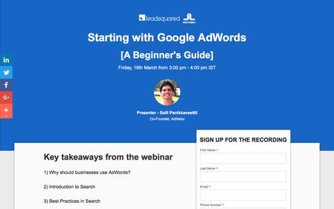Screenshot of Landing Page leadsquared.com - [Webinar Content] Starting with Google AdWords - A Beginner's Guide - captured March 5, 2018
