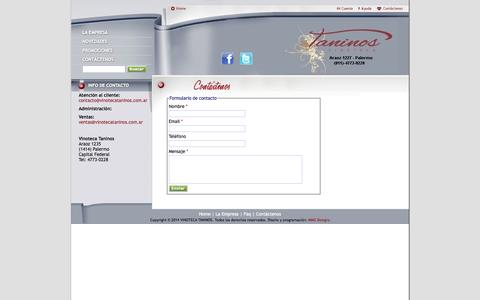 Screenshot of Contact Page vinotecataninos.com.ar - Contacto - VINOTECA TANINOS - captured Oct. 7, 2014