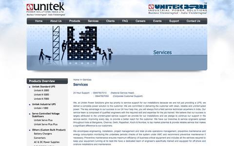 Screenshot of Services Page unitekups.in - Unitek -Services - captured Oct. 27, 2014