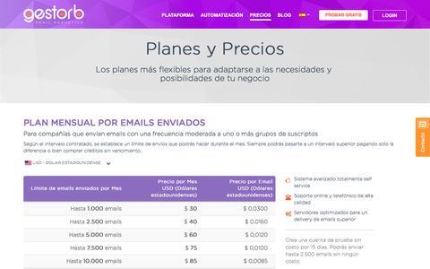 Screenshot of Pricing Page gestorb.com - Planes y Precios | GestorB - captured Nov. 6, 2016