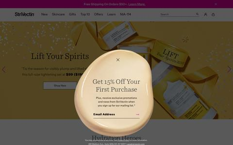 Screenshot of Home Page strivectin.com - StriVectin Anti-Aging Products | Official Site | Free Shipping - captured Oct. 27, 2018