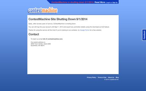 Screenshot of About Page contestmachine.com - ContestMachine: About Us, Support, and Contact Information - captured Sept. 10, 2014