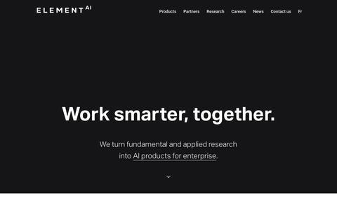 Screenshot of Home Page elementai.com - Global AI Software Provider | Element AI - captured July 12, 2019