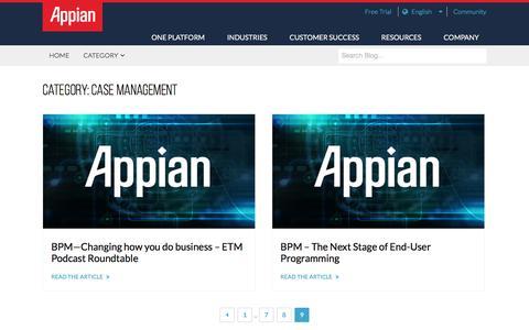 Screenshot of Case Studies Page appian.com - Case Management Archives - Page 9 of 9 - Appian Blog - captured June 22, 2018